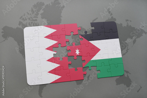 puzzle with the national flag of bahrain and jordan on a world map on map of armenia and jordan, map of iran and jordan, map of egypt and jordan, map of qatar and jordan, map of western asia and jordan, map of middle east and jordan, map of turkey and jordan, map of macedonia and jordan, map of libya and jordan, map of iraq and jordan, map of jerusalem and jordan, map of india and jordan, map of yemen and jordan, map of france and jordan, map of belgium and jordan, map of dubai and jordan,