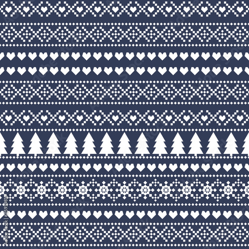 Simple Christmas pattern - Xmas trees, hearts, snowflakes on blue background. Seamless Christmas