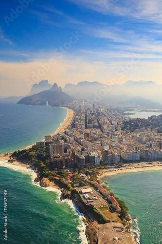 Poster Brésil Copacabana Beach and Ipanema beach in Rio de Janeiro, Brazil
