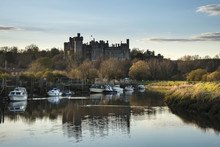 Landscape Image Of Old Medieval Castle Viewed Across River At Su