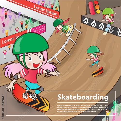 Skateboarding Sport With Girl Cartoon Character Advertising Post
