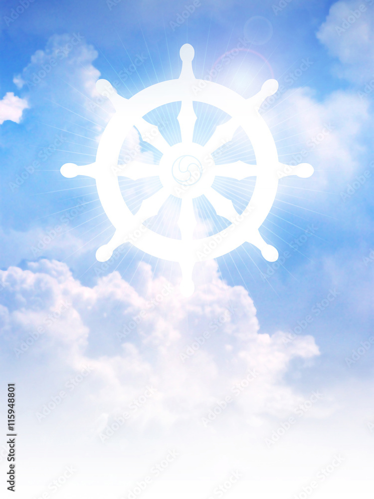 c1dbc3370 Fotografie, Obraz Dharma Wheel of Buddhism symbol on clouds | Posters.cz