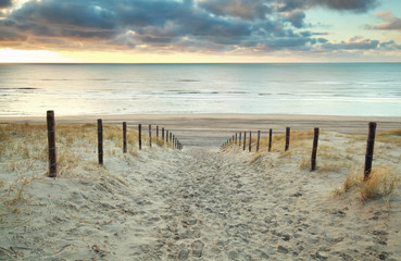 Fototapeta Morze sand path to the North sea at sunset