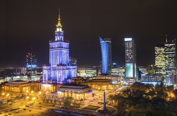Panel Szklany Warszawa The Palace of Culture and Science in Warsaw at night