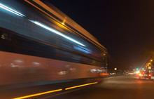 The Trace Of A Moving Bus At N...