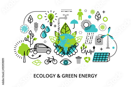 Obraz na płótnie Modern flat thin line design vector illustration, infographic concept of ecology
