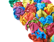 Pile Of Colorful Crumbled Paper Balls