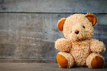 Cute Teddy Bears Sitting On Ol...