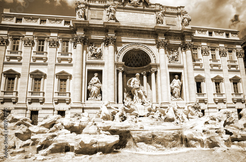 Italy. Rome. The famous Trevi Fountain built in the XVIII century. - 115974205