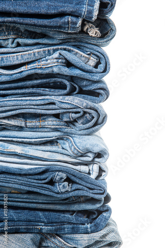 Pinturas sobre lienzo  stack of jeans on white background