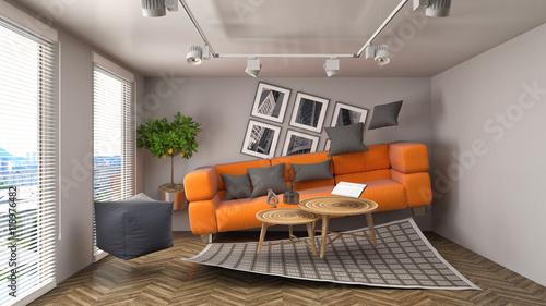 Obraz na plátně Zero Gravity Sofa hovering in living room. 3D Illustration