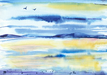 Watercolor Painting Background. Sunset Seascape.