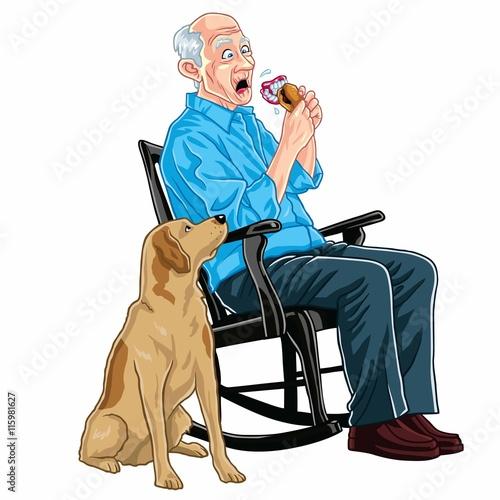 Stupendous Old Man Sitting On A Rocking Chair Eating Burger With His Frankydiablos Diy Chair Ideas Frankydiabloscom