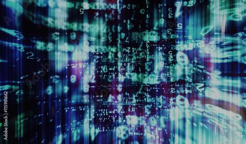 Inside vintage computer interlaced digital abstraction backgroun