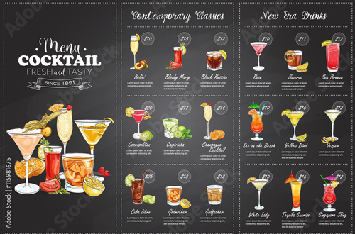 Fotografia, Obraz Front Drawing horisontal cocktail menu design