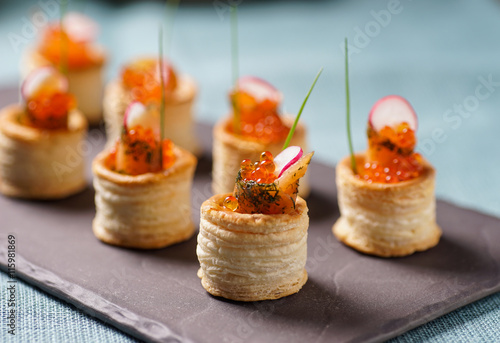 Carta da parati Delicious graved salmon appetizers