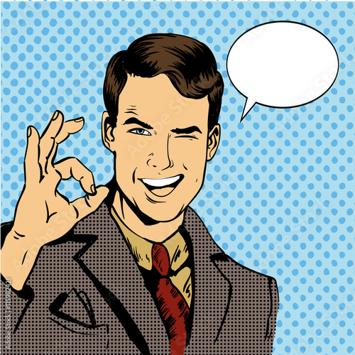 Canvas Print Man smile and shows OK hand sign with speech bubble