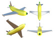 3D illustration a set of Banana airplane.