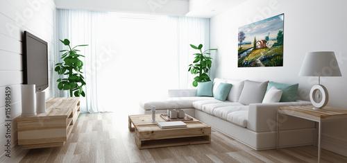 Fotografie, Obraz  Soggiorno moderno con divano, televisore e parquet