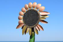Statue Of Copper Flower Sunflower