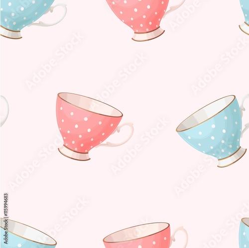Stoffe zum Nähen Nahtlose Vintage Teetassen