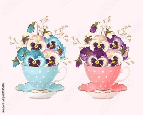 Teacup with pansies - 115995628