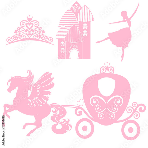 Cinderella set of collections crown vector illustration design crown vector illustration design elements for little princess stopboris Choice Image