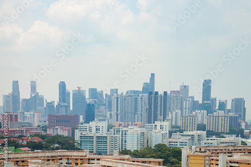 Photo  Singapore's high-rise buildings in the city