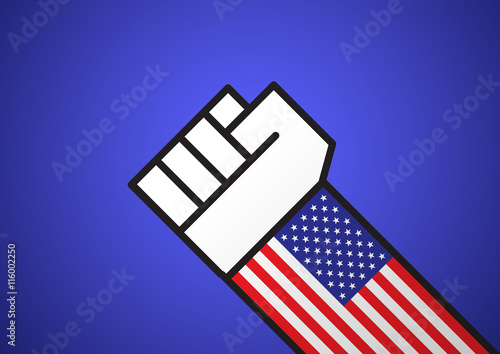 Photo  A hand forming a fist with american flag as the sleeve