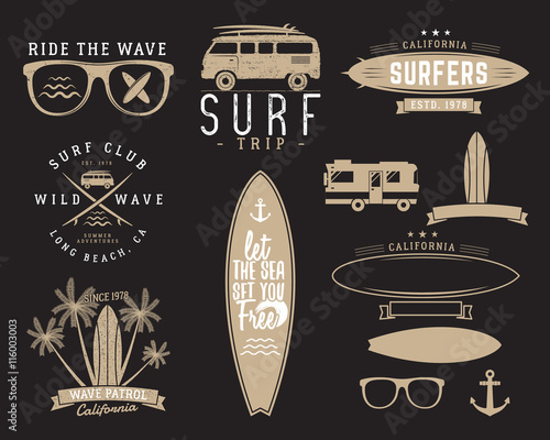 Set Of Vintage Surfing Graphics And Emblems For Web Design Or Print Surfer Beach