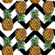 Seamless Pattern With Image Of A Pineapple Fruit In Color And With Geometric Ornament. Vector Illustration.
