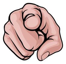 Finger Pointing Cartoon Hand
