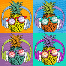 Bright Pop Art Comic Poster With Image Of A Pineapple With Headphones And Sunglasses. Vector Illustration.