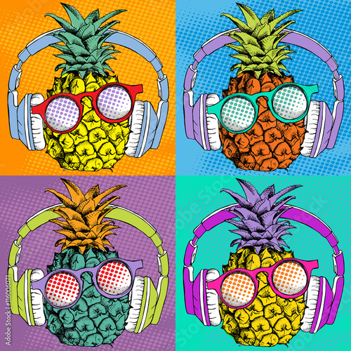 Photo  Bright Pop art comic poster with image of a pineapple with headphones and sunglasses