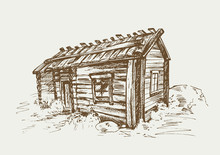 Traditional Finnish Old Rural House In The Countryside. Hand Drawn Vector Illustration In Vintage Style.