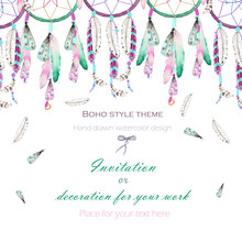Background, Template Postcard With The Watercolor Dreamcatchers And Feathers In The Air, Hand Drawn On A White Background, Background For Your Card And Work