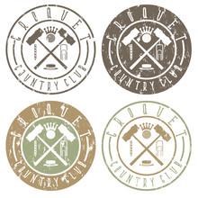 Vintage Grunge Labels Set Of C...