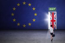 Female Worker Walking Toward Brexit Door
