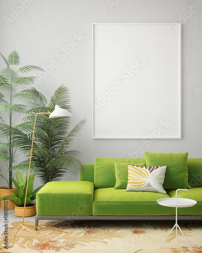 Fotografie, Tablou  mock up blank poster on the wall of vintage living room, 3D rendering, 3D illust