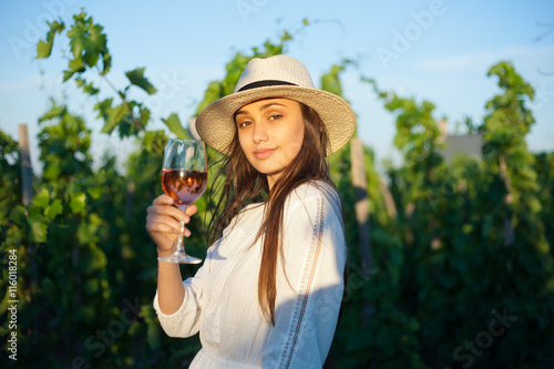 Foto op Aluminium Kasteel Gorgeous brunette woman having wine fun.