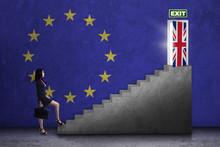 Worker Walks On Stairs Toward Brexit Door