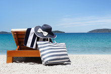 Sunbed With Bag, Blue Hat And ...