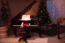 Santa Hat On Piano Keys With C...