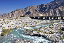 Water Flows Through Whitewater Canyon Near The Desert Town Of Palm Springs, California.