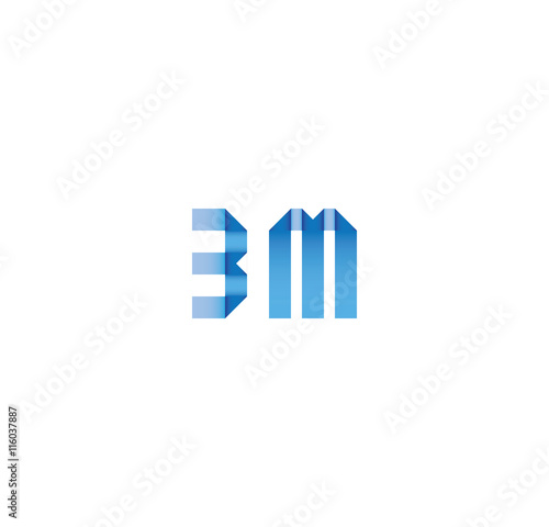 3m initial simple modern blue - Buy this stock vector and explore