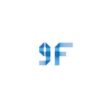 9f Initial Simple Modern Blue