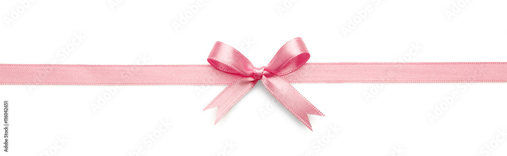 Fototapety, obrazy: Pink ribbon bow on white background