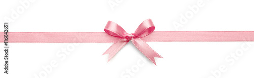 Leinwand Poster Pink ribbon bow on white background