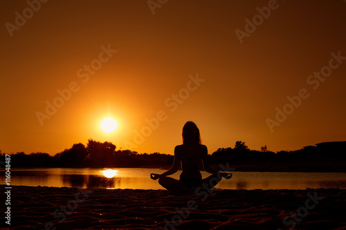 Fototapety, obrazy: The concept of yoga, harmony, meditation, health. Silhouette of