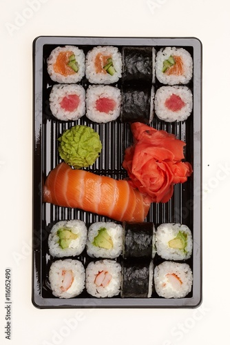 Recess Fitting Sushi bar Delicious sushi isolated on white background.